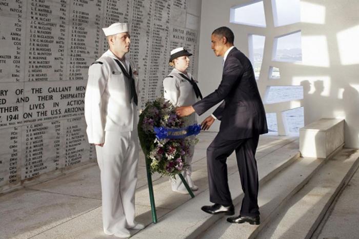 Foto: Notimex. Obama y Trump recuerdan el 75 aniversario del ataque a Pearl Harbor.