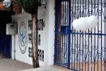 Foto: EL Universal.  Al Colegio Americano del Noreste ya acuden  a depositar globos blancos, flores y veladoras.
