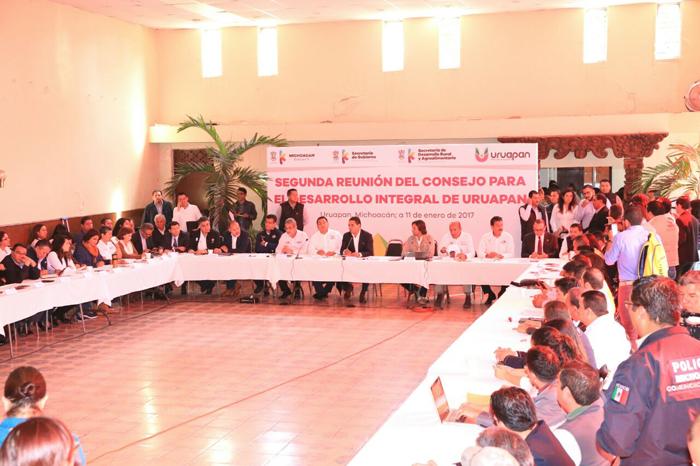 Foto: Cortesía. Encabeza Gobernador Silvano Aureoles segunda reunión del Consejo para el Desarrollo Integral de Uruapan.