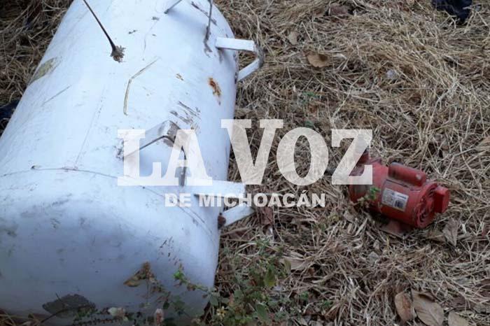APATZINGÁN Es detenido señalado del robo de un tanque de gas y una bomba para agua