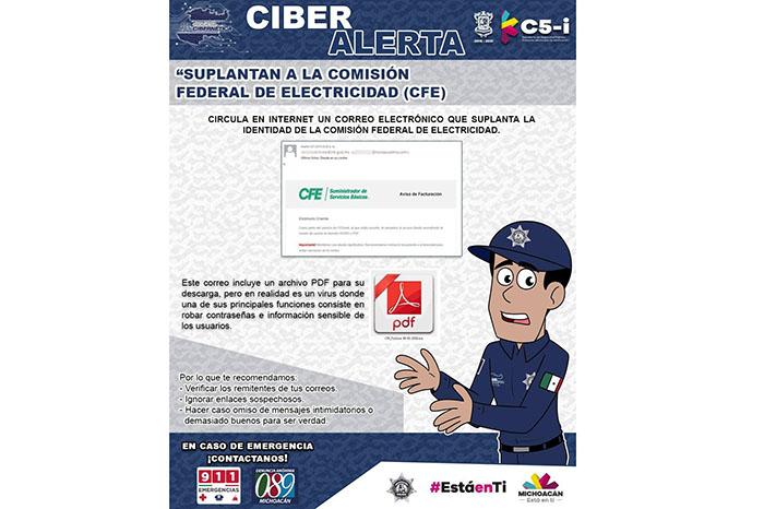 MORELIA Alerta Unidad Cibernética de la SSP sobre falsos correos electrónicos de la CFE